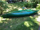 Cedar fiberglassed 15' green canoe - [click here to zoom]
